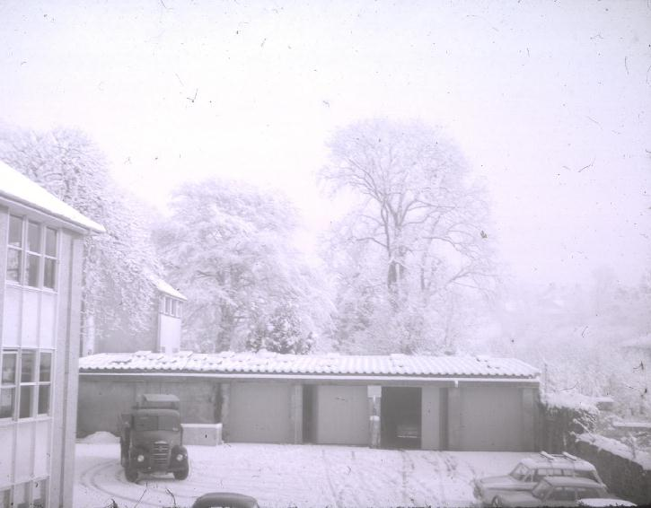 The Willows car park and garages in the snow 1963