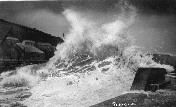 STORM WAVES AT THE HARBOUR ENTRANCE