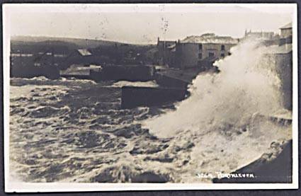 PORTHLEVEN HARBOUR STORMY SEAS