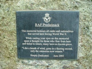 RAF PREDANNACK MEMORIAL  PLAQUE