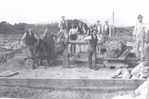 WHEAL VOR `CREASES` SHAFT MINERS 1908 The outline of Tregonning Hill can be seen in the background.