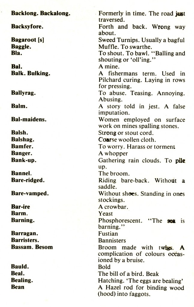 CORNISH DIALECT WORDS B