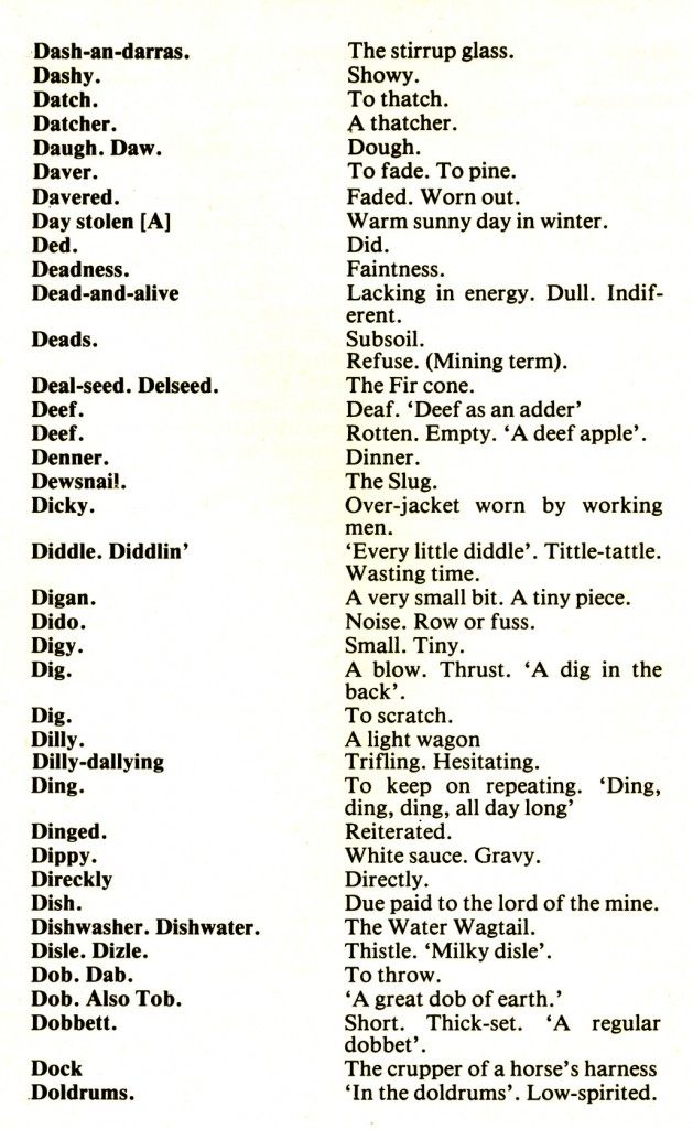 CORNISH DIALECT WORDS D